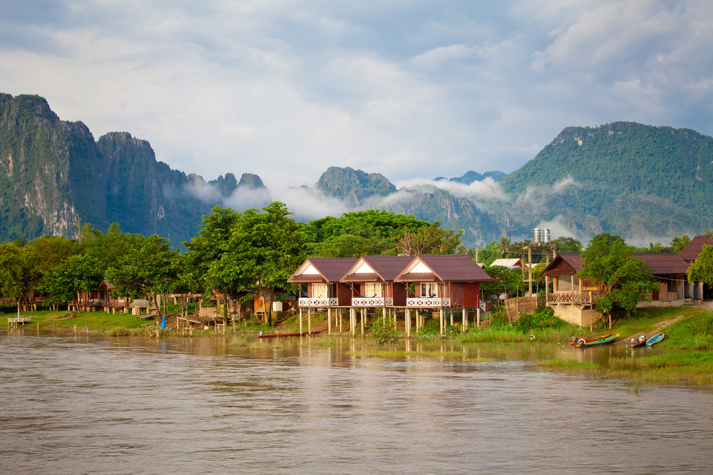 Village and mountain in Vang Vieng Laos