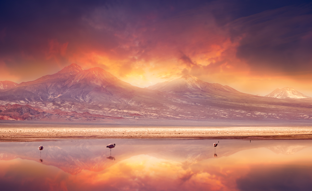Vivid sunset over the Andes Mountains and Atacama Desert Chile