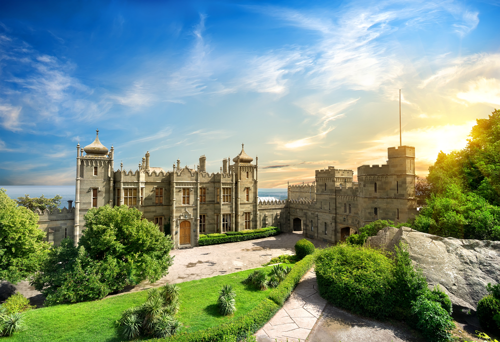 Vorontsov Palace in the town of Alupka Crimea Ukraine