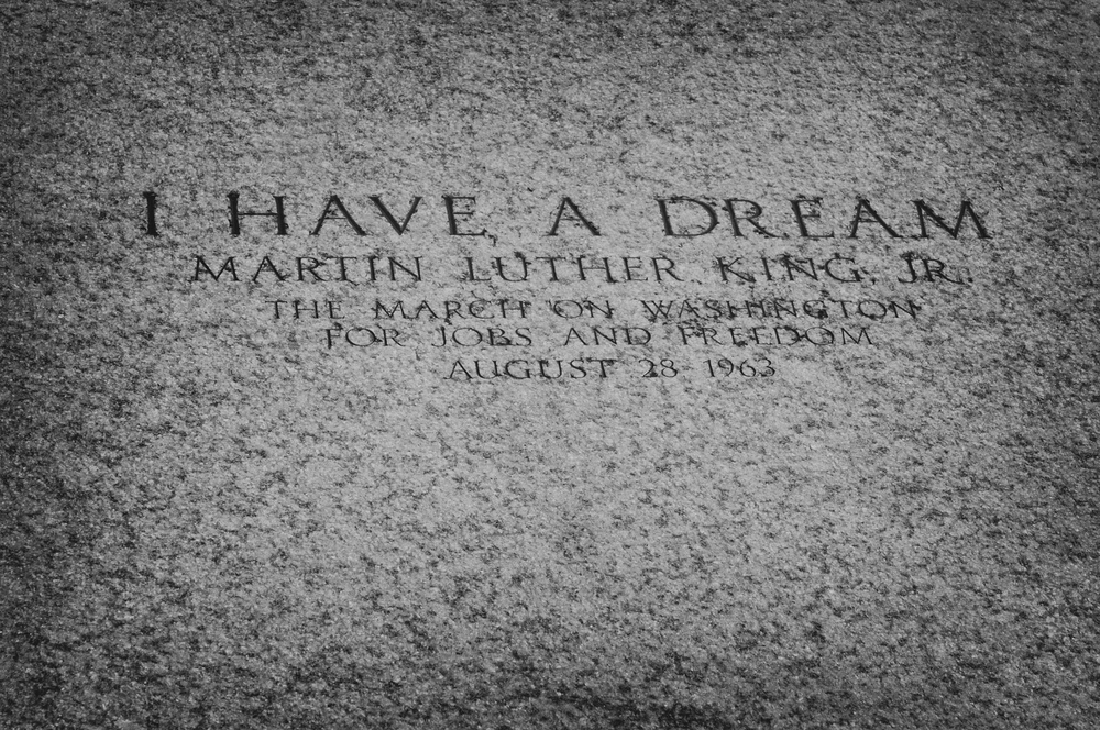 WASHINGTON DC USA SEPTEMBER 30 2009 An inscription on the floor of the Lincoln Memorial marks the spot from which in August 1963 Martin Luther King Jr