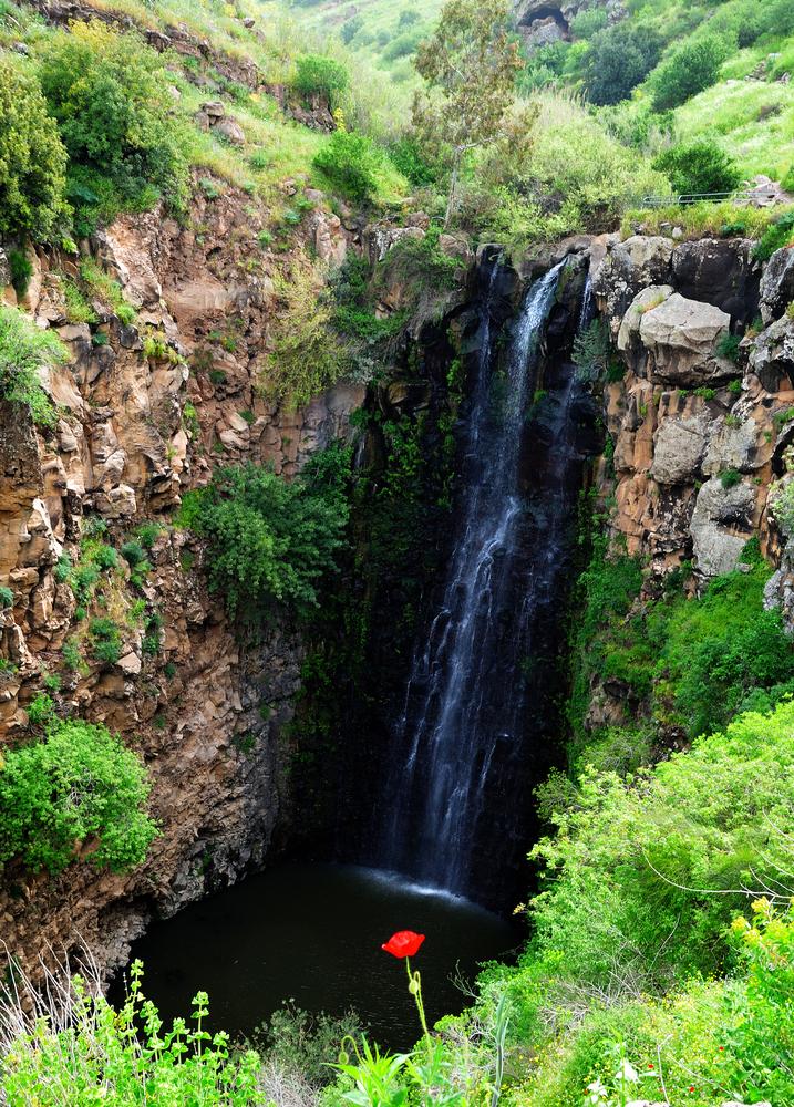 Waterfall Gilbon height of 44 meters inflow of the Jordan River
