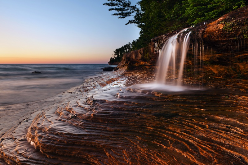 Waterfall at the beach