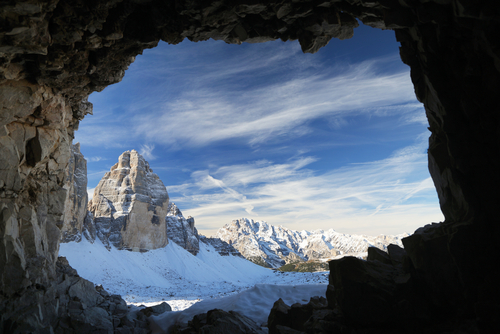 Winter landscape in the Dolomites Italy Europe