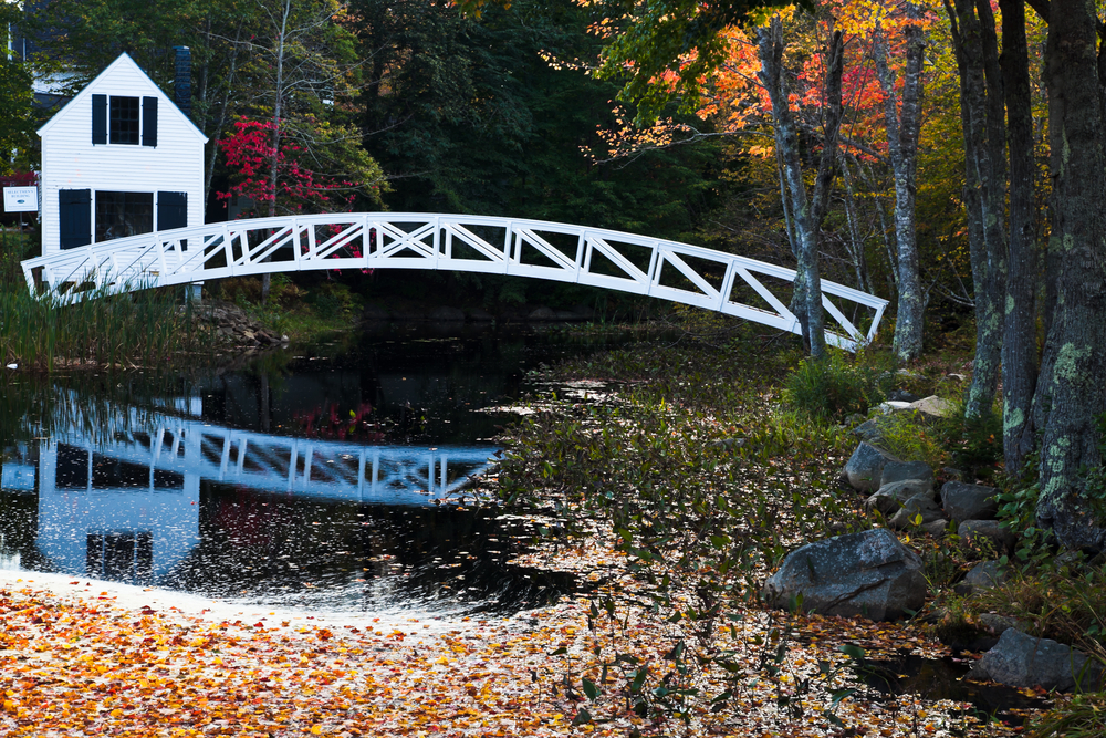Wooden Bridge in Somesville Acadia National Park Maine USA
