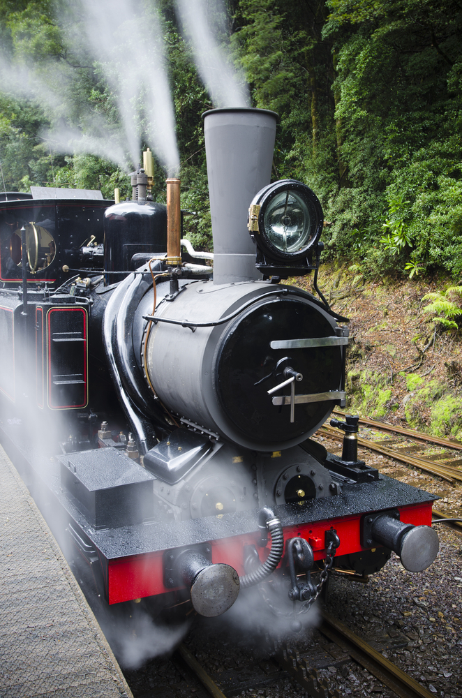 Working steam train in Tasmanian wilderness