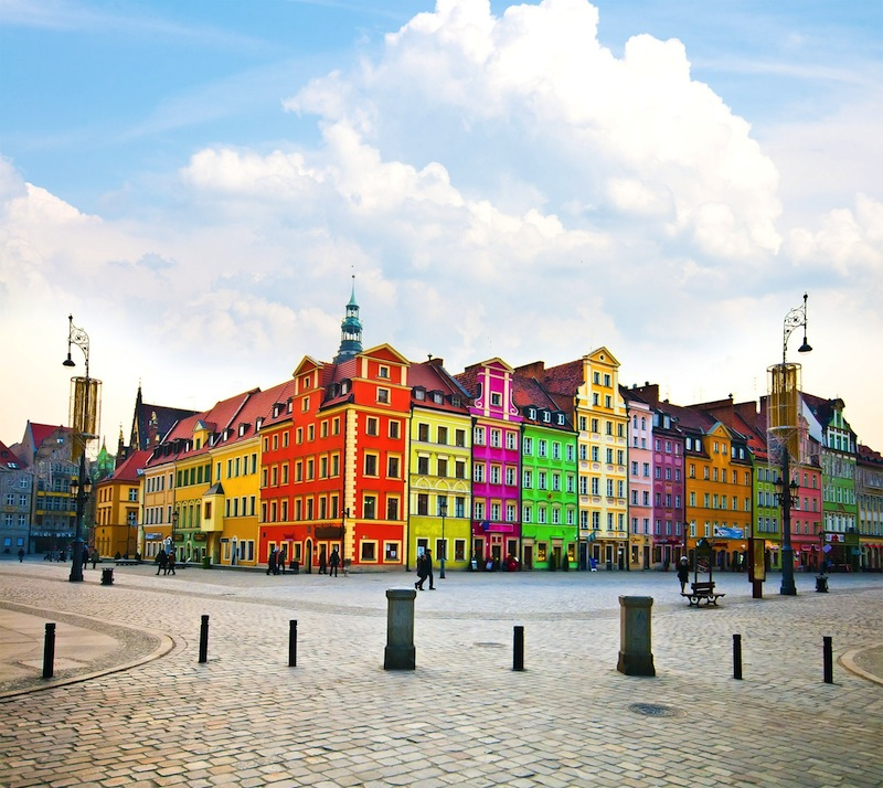 Wroclaw City center Market Square tenements and City Hall