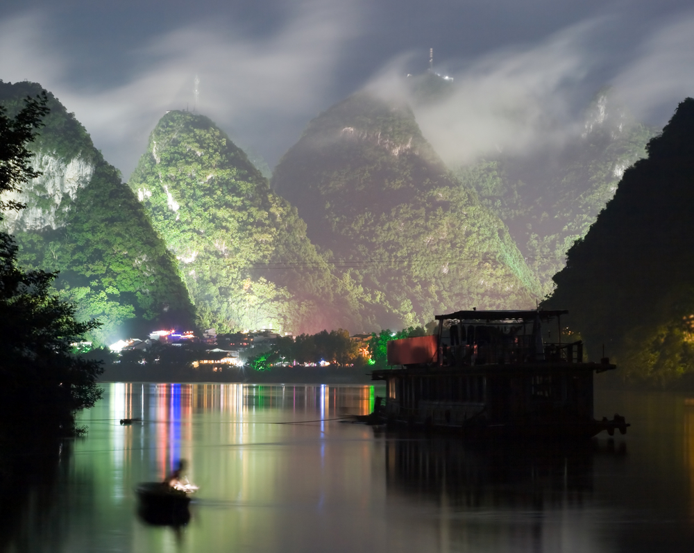 Yangshuo city near cloudy hill