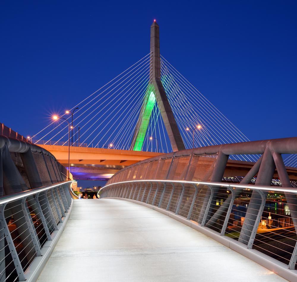 Zakim Bridge and North Bank Bridge walkway in Boston Massachusetts