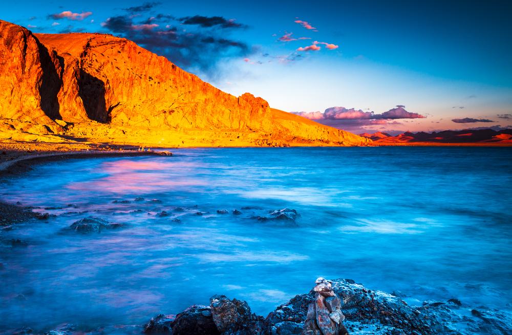 Zhaxi island in Namtso Lake Tibet