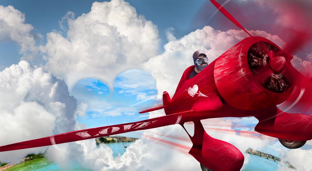 aereo rosso cuore