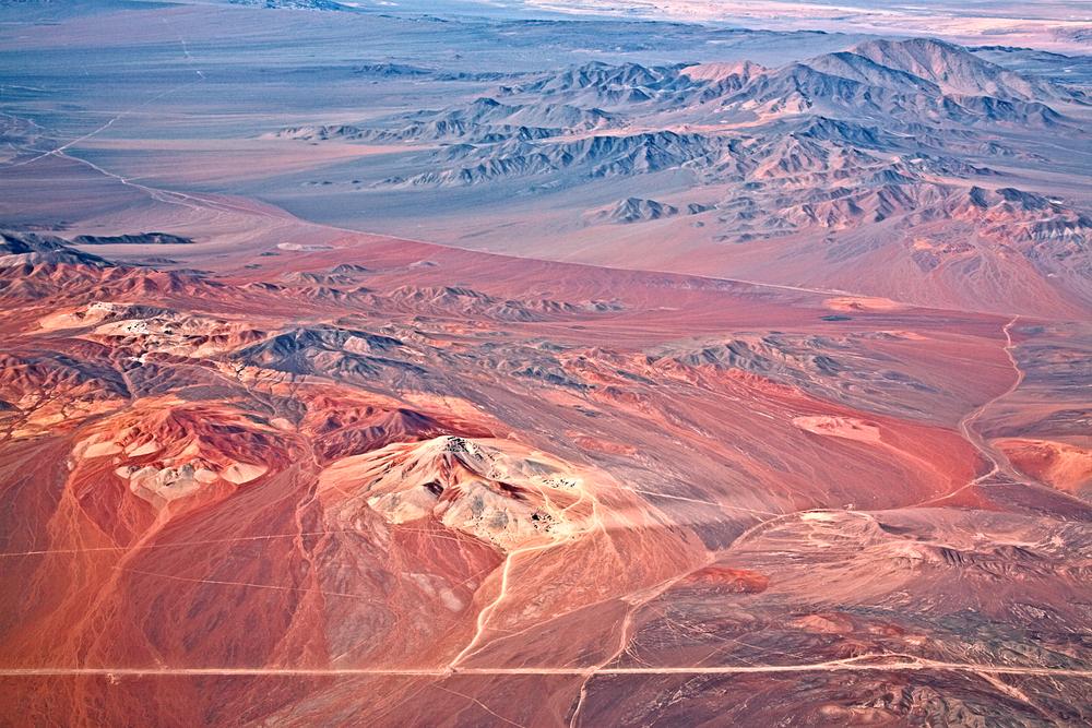 aerial view of volcanoes Atacama desert Chile