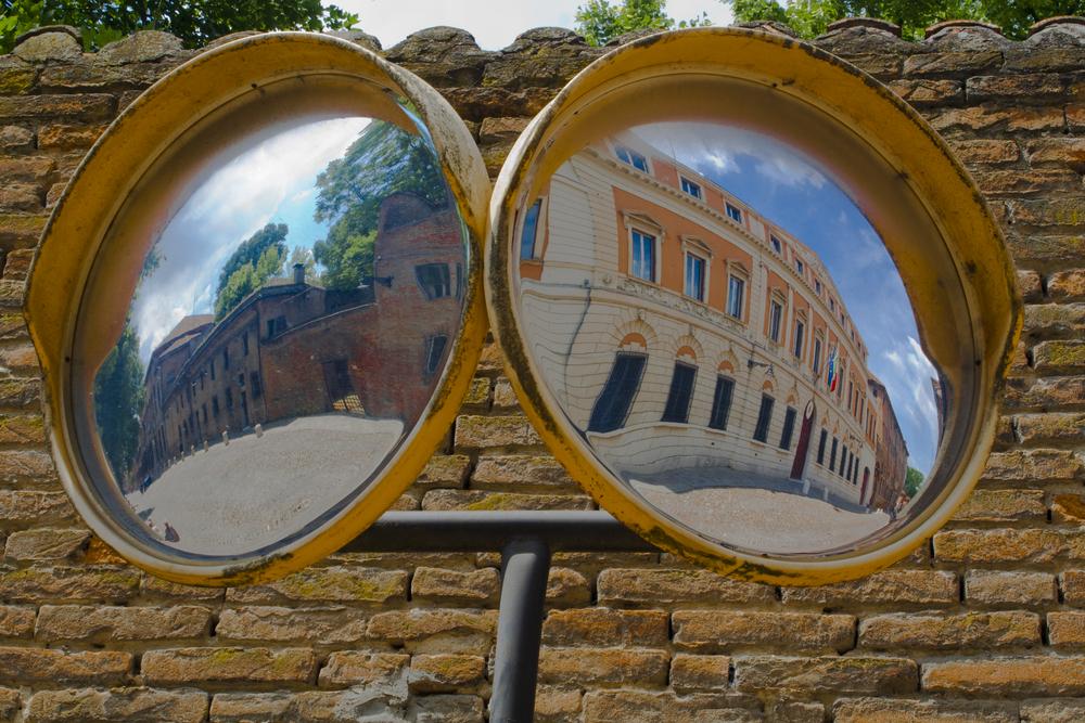 attractions in Ferrara seen on a convex mirror 3