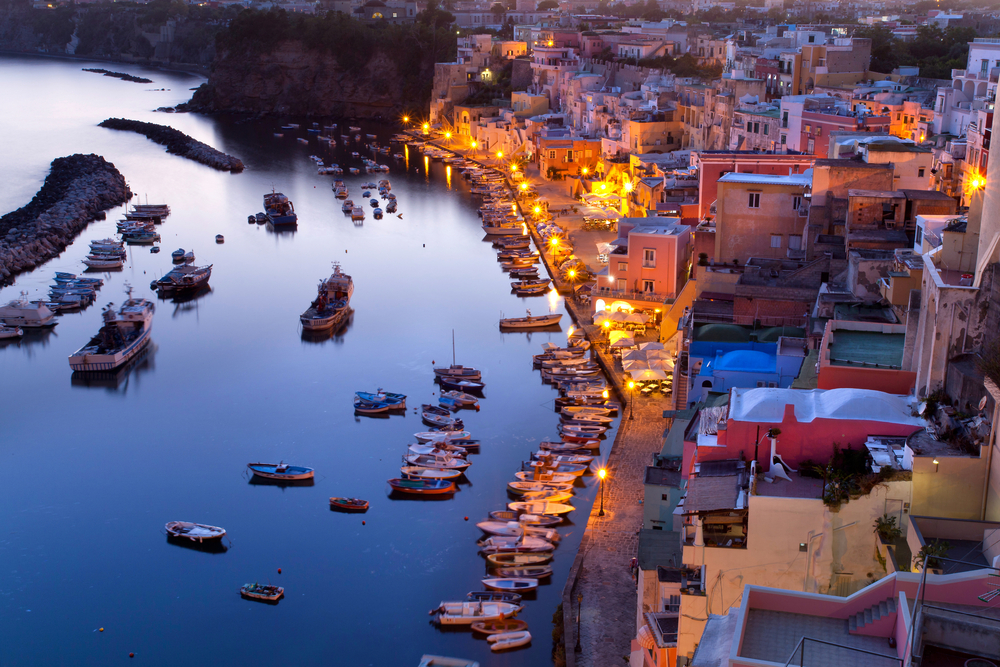 beautiful sundown over Coricella small fisherman village on the Island of Procida near naples
