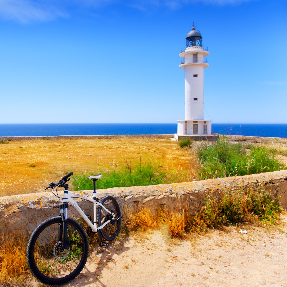 bicycle on Balearic island of Formentera near Barbaria cape Lighthouse