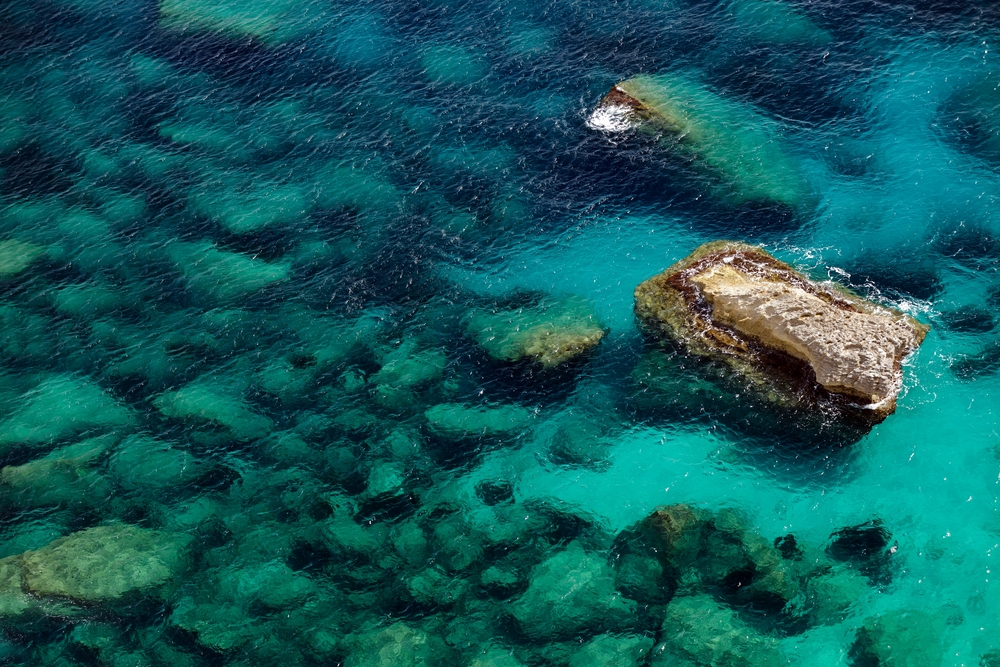 blue sea and rocks in Corsica island France