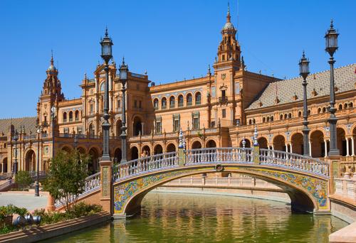 bridge of Plaza de Espana square of Spain in Seville Spain