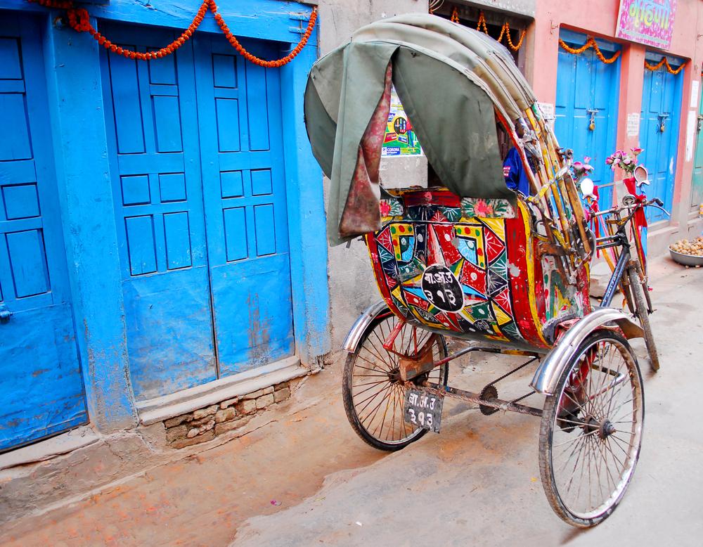 colorful nepalese rickshaw in kathmandu