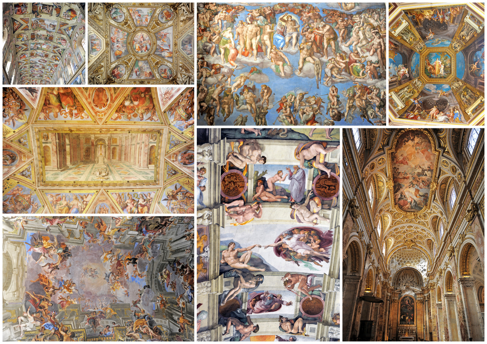 composite picture with Renaissance ceiling in Rome Italy