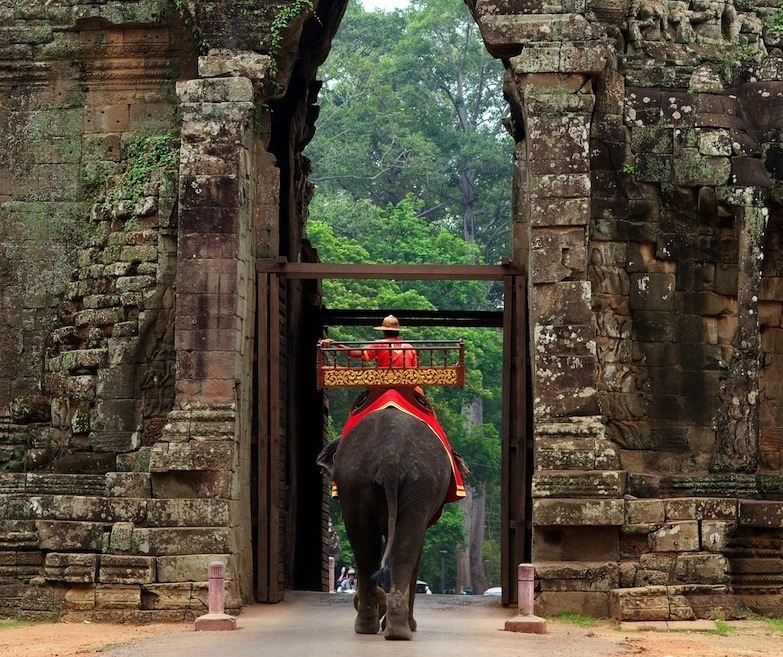 ephant at Gate of Angkor Thom in Cambodia