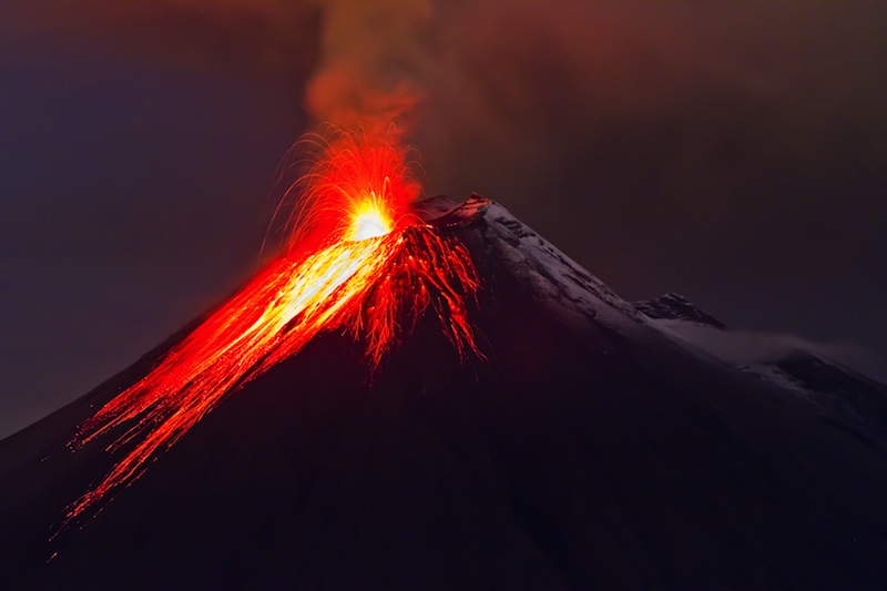 eruption of the volcano with molten lava flowing on the slopes 7