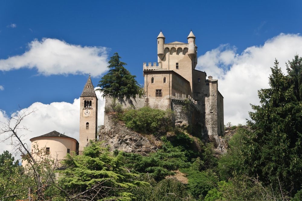 exterior of Saint Pierre Castle and church in Aosta valley Italy