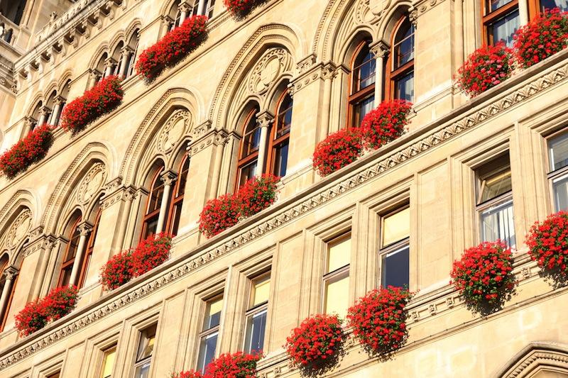famous City Hall building Rathaus in Vienna Austria