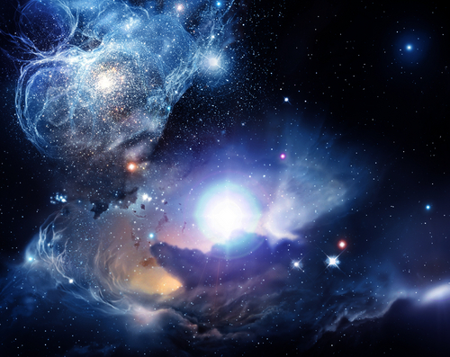 fantasy nebula with planets stelle