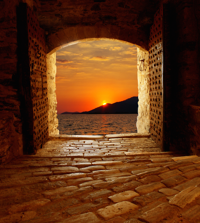 finestra tramonto