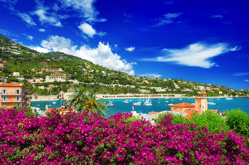 french reviera view of luxury resort and bay of Villefranche sur Me r near Nice and Monaco