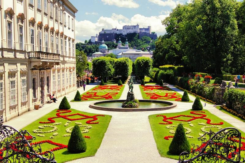 gardens to historic castle Salzburg Austria Stock Photo