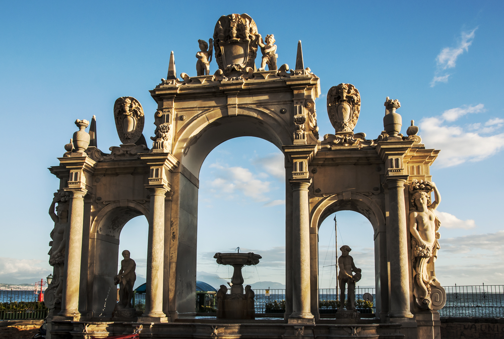 giant fountain on the seafront in Naples Italy napoli