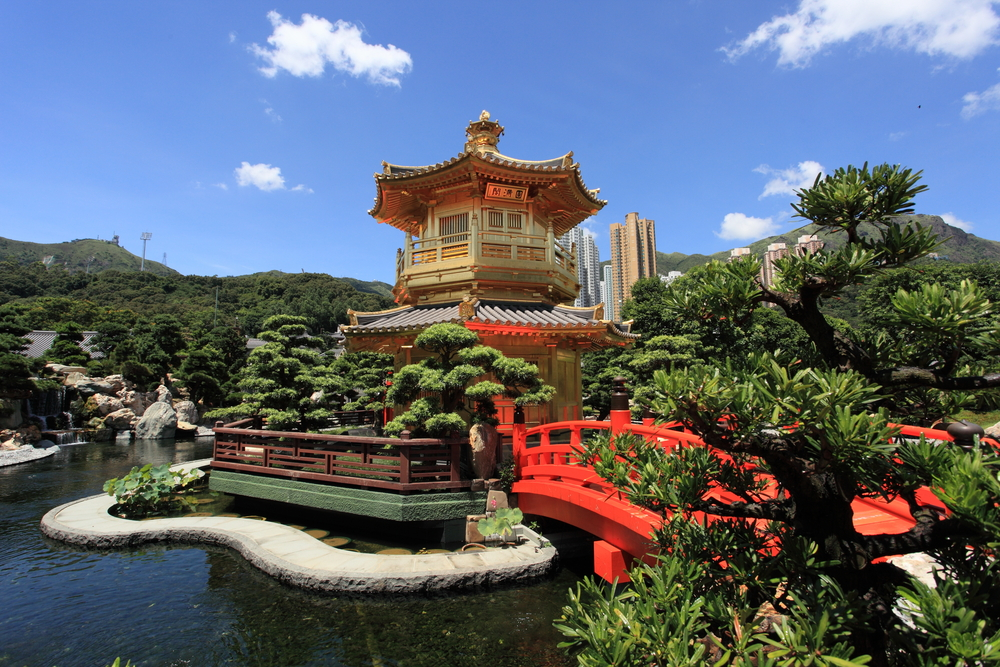 golden pavilion of Chi Lin Nunnery and Chinese garden landmark in Hong Kong