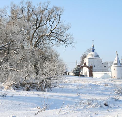 iew of Luzhetsky Ferapontov monastery at winter Mozhaisk Russia