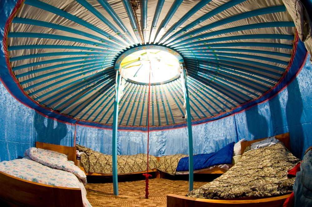 interior of Mongolian yurta