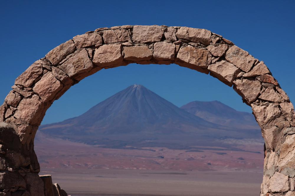 licancabur volcano seen from a panoramic view point in atacama desert near san pedro de atacama in chile