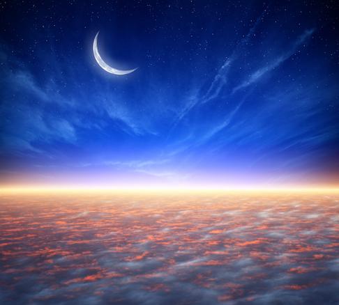 luna falce tramonto