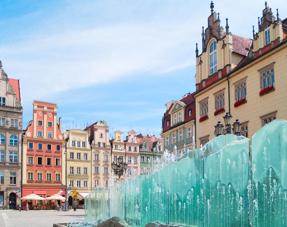 medieval market square rynek in Wroclaw Poland