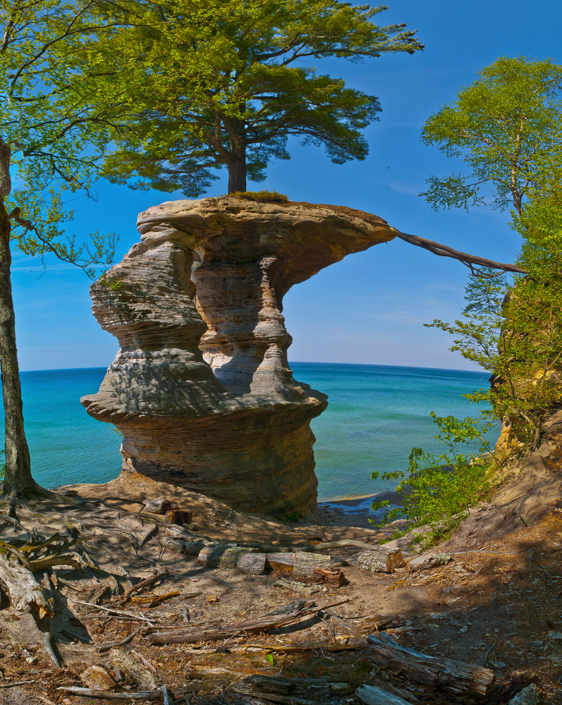 michigan Chapel Rock on the trail to Mosquito Beach in Pictured Rock National Lakeshore