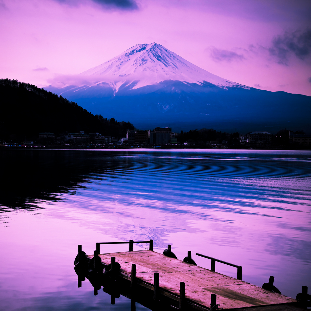 mount fuji in the sunset wiht lake front in japan