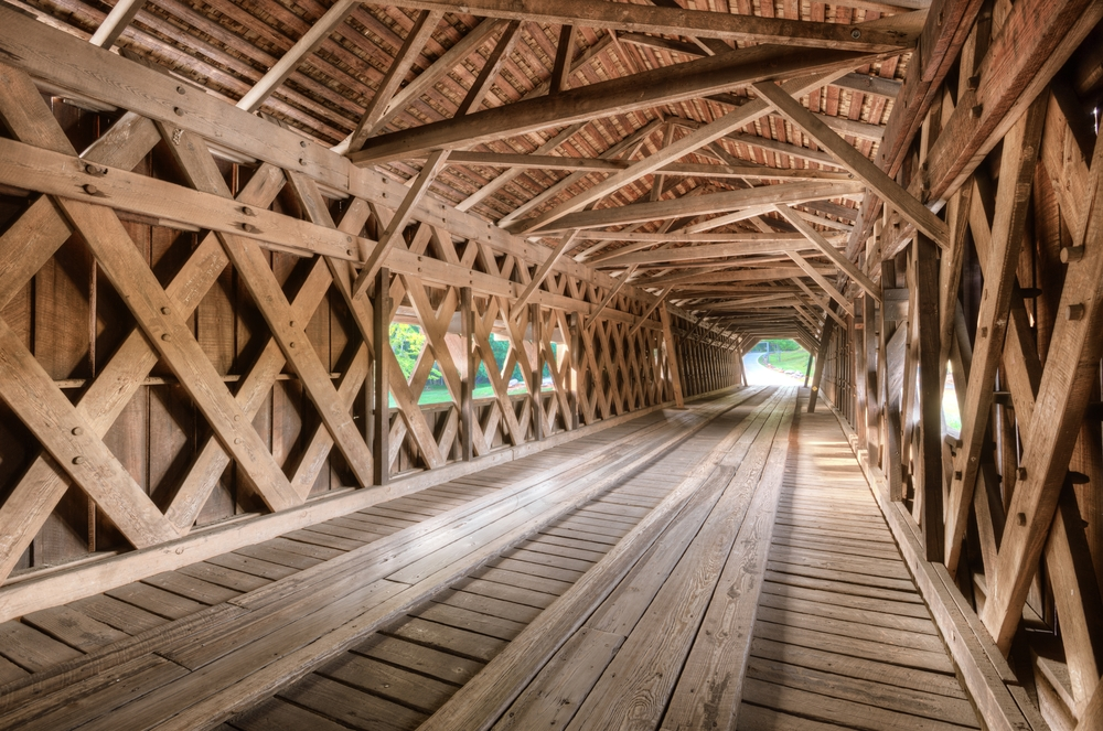nterior of an old covered bridge in Watson Mill State Park Georgia USA