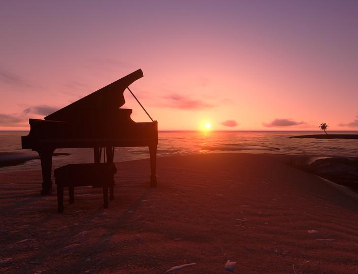 piano sunset