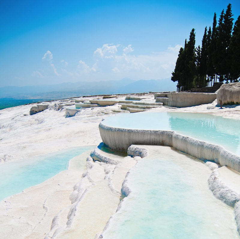 ravertine pools and terraces in Pamukkale Turkey