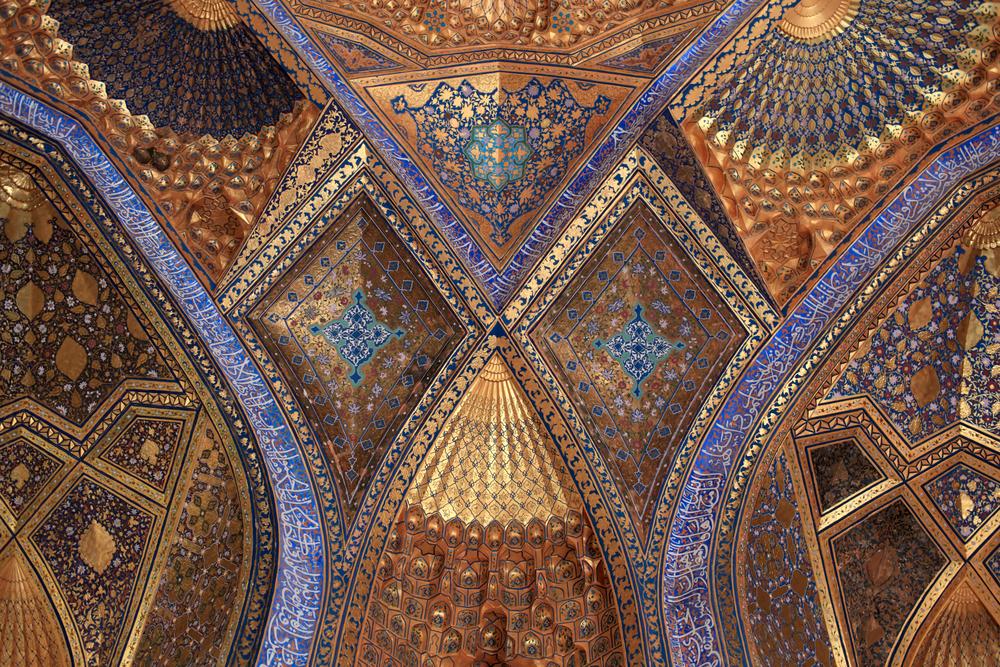 s golden interior of Aksaray mausoleum Samarkand Uzbekistan