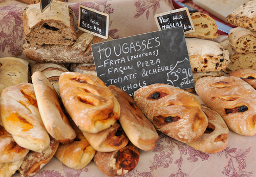 sRandom types of bread at traditional French Provence market