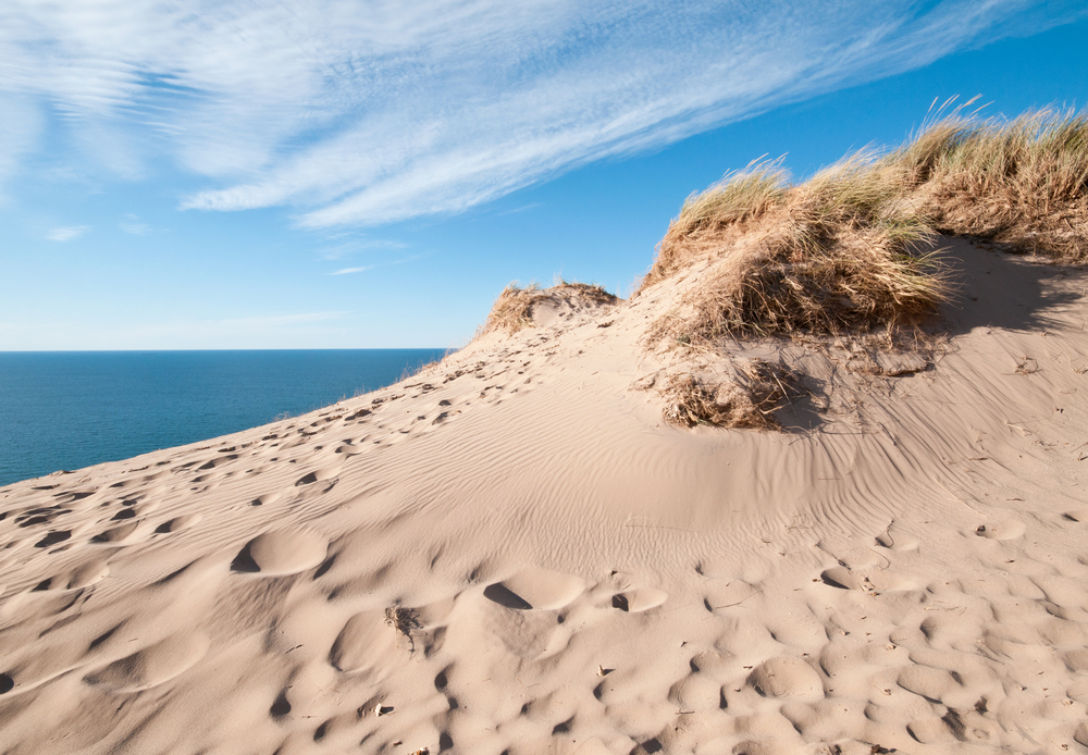 sand dunes on the shore of lake michigan