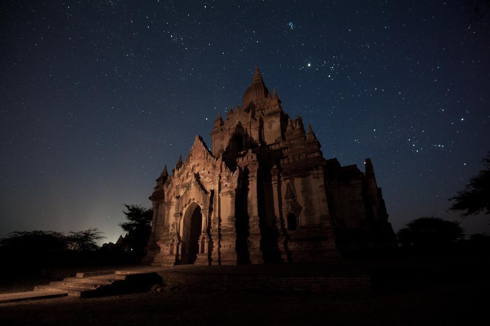 temple in Bagan with night star Myanmar
