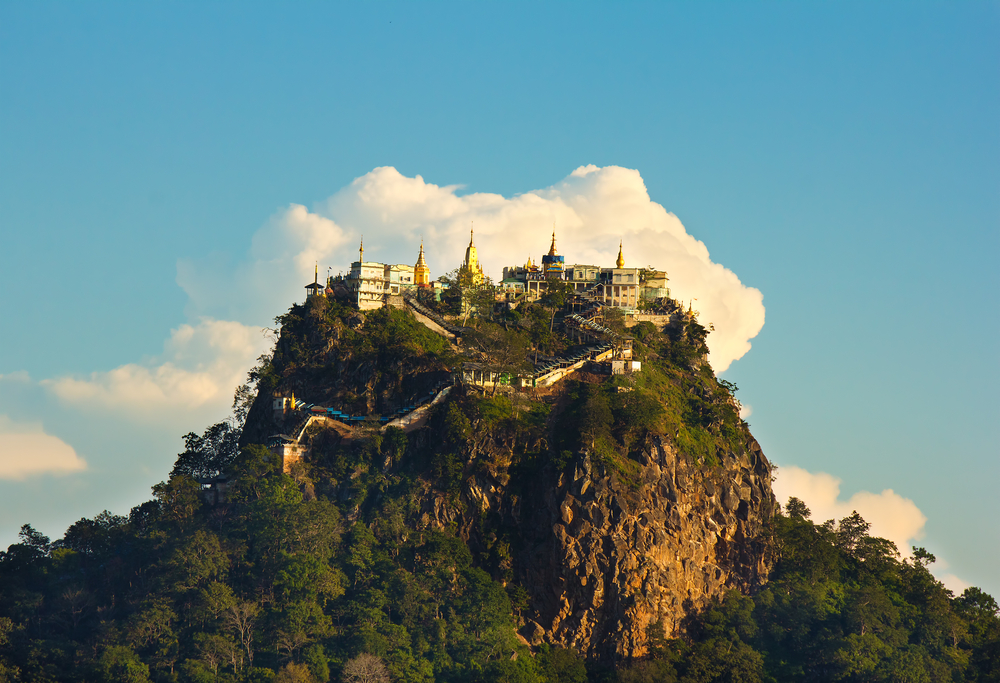 temple on top of a mountain Popa in the clouds Mount Popa MyanmarBurma november 2014 birmania