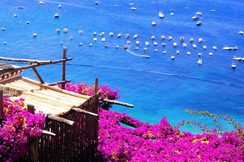 terrace in Positano on the Amalfi Coast of Italy