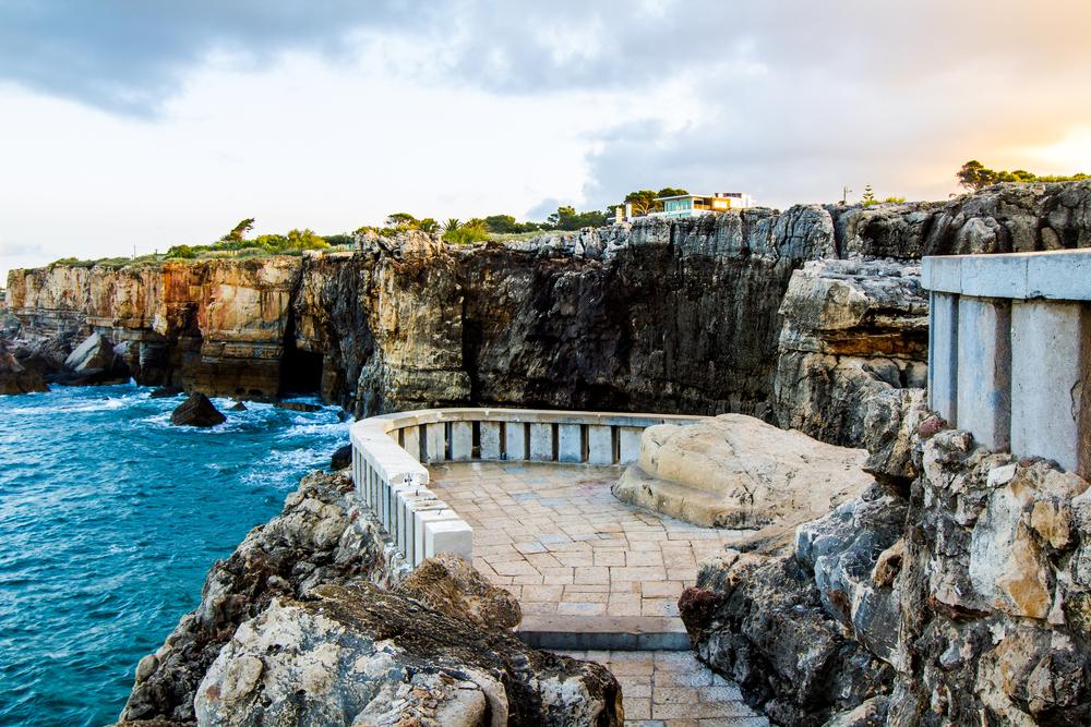 terrace rocks ocean near Boca de Inferno Portugal