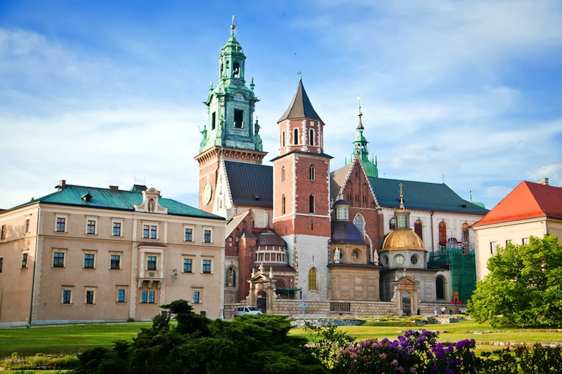 the Basilica of St Stanislaw and Vaclav or Wawel Cathedral on Wawel Hill in Krakow Poland